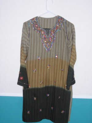 Shalwar Kameez - Multi color Brown Shade Cotton