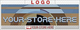 Awesome Retro Abstract Brown Blue eCRATER Store Y-S-H LOGO