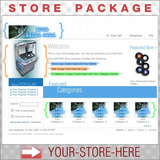 Records Jukebox Music Shop - Custom Y-S-H eCRATER Store Package