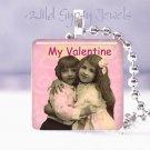 "Vintage Children PINK My Valentine 1"" glass tile Pendant necklace"
