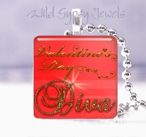 "Red Valentine's Day DIVA 1"" glass tile pendant necklace"