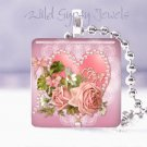 """Valentine's Day Pink roses heart 1"""" glass tile pendant necklace"""