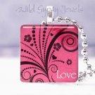 """Magenta Pink black vines scrolls LOVE 1"""" sq glass tile pendant necklace"""