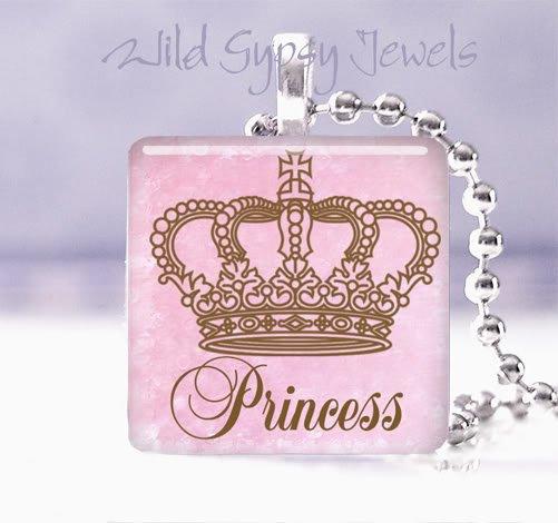 "Pink crown PRINCESS Valentine's 1"" glass tile pendant necklace"