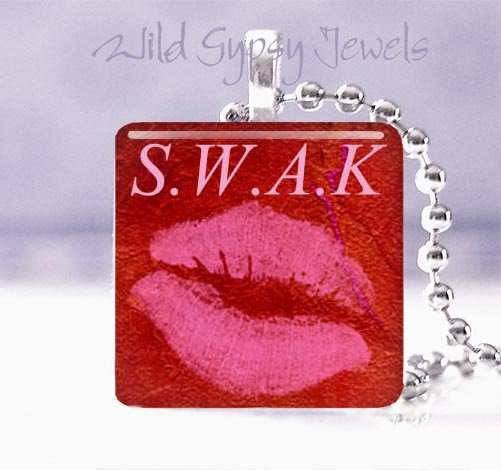 "Sealed with a kiss Hot Pink Lips S.W.A.K. RED 1"" glass tile pendant necklace"