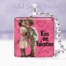 "Pink Kiss Me Valentine Vintage Children 1"" glass tile pendant necklace"
