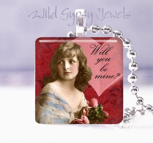 "Be mine Valentine Vintage Girl ROSES 1"" glass tile pendant necklace"