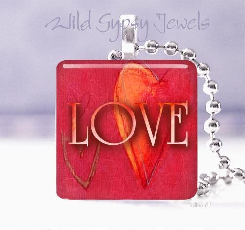 """Valentine's Day RED heart modern LOVE 1"""" sq glass tile pendant necklace"""