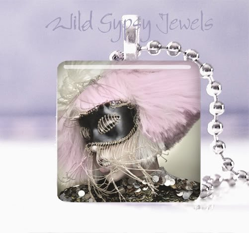 """Hot & sexy Lady GaGa PINK 1"""" glass tile pendant necklace GIFT IDEA"""