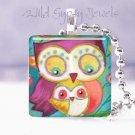 """Mother Baby Owls Peach Aqua 1"""" tile pendant necklace"""