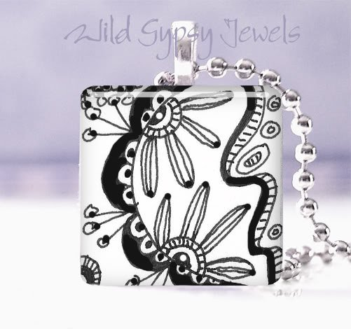 """abstract B&W doodles art 1"""" glass tile pendant NECKLACE GIFT IDEA"""