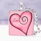 """Valentine's Day red & pink Love HEART 1"""" glass tile pendant necklace"""