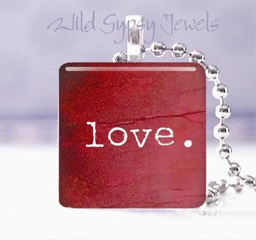 "Valentine's Day RED love HEART 1"" glass tile pendant necklace"