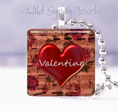 """Valentine's Day red heart with sheet music 1"""" glass tile pendant necklace NEW"""
