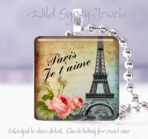 "Paris Eiffel Tower Je t'aime ephemera roses 1"" glass tile pendant necklace"