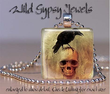"Poe Nevermore Crow skull Grunge punk 1"" glass tile pendant necklace"