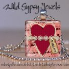 """Valentine's Heart Red Lace Vtg collage 1"""" glass tile pendant necklace gift idea"""