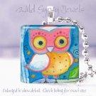"Bright Owl pastel aqua pink peach blue gift idea 1"" glass tile pendant necklace"