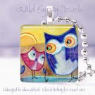 "Wise Old Owl Baby yellow pink blue *NEW* design 1"" glass tile pendant necklace"