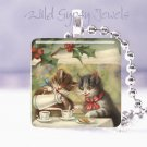 """Vintage Merry Christmas CATs tea Holly 1"""" glass tile pendant necklace NEW"""