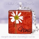 "Mothers GIFT idea HOT Red Nana daisy grandchild 1"" glass tile pendant necklace"