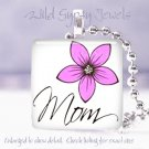 """Mothers Day GIFT White Pink floral 1"""" glass tile pendant necklace"""