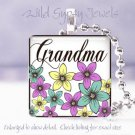 """Mother Day GIFT Multi floral Grandma 1"""" glass tile pendant necklace"""