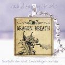 """Gothic Dragon Vtg Poison Potion Label 1"""" glass tile pendant necklace gift idea"""