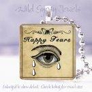 """Vintage Gothic Happy Tears Poison Potion Label 1"""" glass tile pendant necklace"""