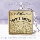 "Vintage black ivory Cobweb Potion Label 1"" glass tile pendant necklace gift idea"