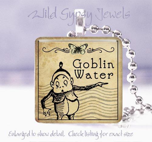 """Gothic Goblin Vtg Potion Label 1"""" glass tile pendant necklace gift idea PUNK"""