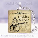 "Gothic Goblin Vtg Potion Label 1"" glass tile pendant necklace gift idea PUNK"