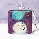 "Snowman BLUE bird PURPLE 1"" pendant Necklace GIFT IDEA"
