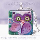 """Mother Owl Lavender Purple great holiday gift idea 1"""" sq tile pendant necklace"""