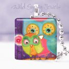 """Aqua Owl Lime Baby Mother Whimsical 1"""" glass tile pendant necklace"""