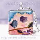 "Mother Baby Flying Lessons pink blue *NEW* design 1"" glass tile pendant necklace"