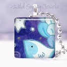 """Wish Upon Star BLUE Happy Bird Whimsical 1"""" glass tile pendant necklace"""