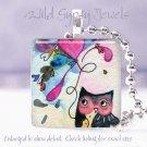 "Owl heart balloon black pink whimsy *NEW* design 1"" glass tile pendant necklace"