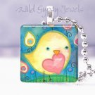 "Cute Bird Heart Flowers Teal Blue 1"" glass Tile Pendant necklace NEW Low Price"