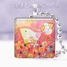 Hot Pink Bird LUSH flowers glass tile pendant necklace NEW Low Price