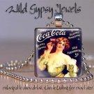 "Vtg Coca-Cola girl yellow dress black 1"" glass tile pendant necklace GIFT Idea"
