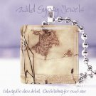 "Vtg Fairy Faerie fairytale spider web ivory peach 1"" glass tile pendant necklace"