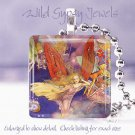 "Fae Vtg Fairy Faerie flying bright multi-colored 1"" glass tile pendant necklace"