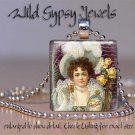 """Vintage Coca-Cola 1890's Ad frilly girl 1"""" glass tile pendant necklace GIFT Idea"""