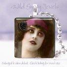 "Goth Vintage Vamp punk woman rose Black pink chic 1"" glass tile pendant necklace"