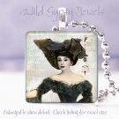 """Goth Audrey Hepburn Black Aqua chic shabby Punk 1"""" glass tile pendant necklace"""