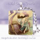 "Sea Lake Vtg Fairy Faerie violet aqua brown shell 1"" glass tile pendant necklace"