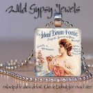 "Vtg Coke Tonic Ad 1890 white PINK girl 1"" glass tile pendant necklace GIFT Idea"