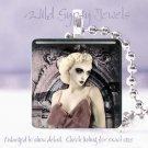 """Gothic Punk Vamp Vintage woman chic shabby Mauve 1"""" glass tile pendant necklace"""