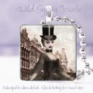 "Paris Goth Gothic Top Hat punk woman chic shabby 1"" glass tile pendant necklace"